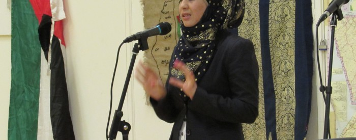 Beforehand, a picture of Shahd, our EVS volunteer, speaking at CADFA event on 8th April